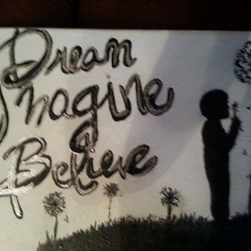 Boy Girl Silhouette Canvas~ Birthstone Keepsake~Girls Bedroom~Dream Imagine Believe