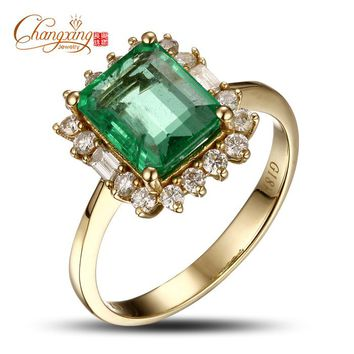 18k Gold Natural 2.47ctw Colombian Emerald Diamond