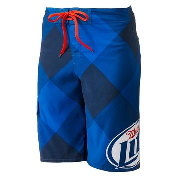 Miller Lite Board Shorts - Men, Size: 28 (Blue)