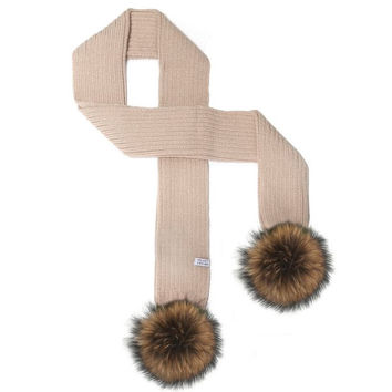 LUX FUR POM SCARF TAUPE WITH CHESTNUT FUR