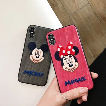 Phone Case Cover For iPhone XS Max XR 8 8plus Embroidered Cute Mickey Minne Mouse Cat Case for iPhonw X 6 6s 7 8Plus Fundas Capa
