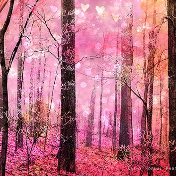 Nature Photography, Fairytale Dreamy Nature Photo, Fantasy Trees Hearts Stars Nature, Pink Baby Girl Nursery Decor, Fairytale Woodland Trees