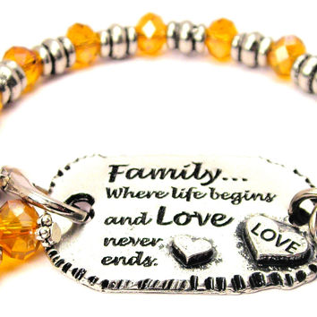Family Where Life Begins And Love Never Ends Expression Armor Pewter Crystal Bracelet