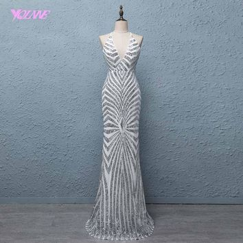 YQLNNE 2018 Bling Sliver Long Prom Dresses Mermaid V Neck Back Cross Evening Party Dress