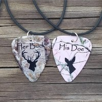 Her Buck His Doe Guitar Pick Necklaces - Camouflage/Pink