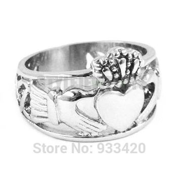 Size 13 ! Claddagh Style Hand to Hold a Heart with Crown Ring Stainless Steel Jewelry Celtic Knot Women Biker Ring SWR0308B