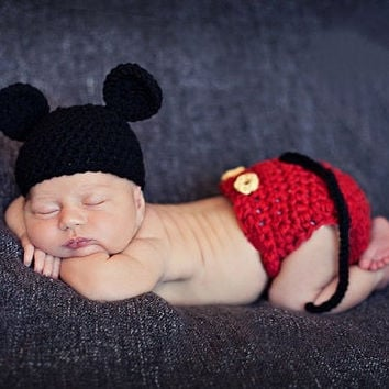 Newborn Mouse Baby Knit Crochet Knitting Flower Cap Cartoon baby Photography Props Hats Short Handmade = 1958277508