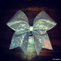 sparkly white-silver shattered glass fabric cheer bow.