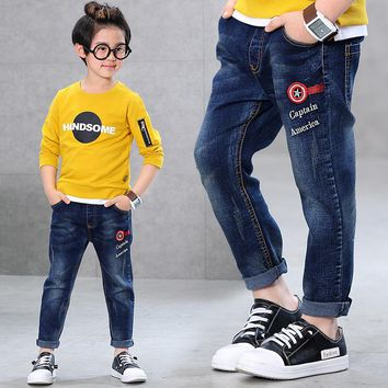 Captain American Jeans for Boys Cuff Cartoon Figure Denim Pants Boy Trousers 2017 School Kid Clothes of 3 4 6 8 10 12T RKP175032