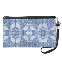Art Deco Pattern - Light Blue Shades Wristlets