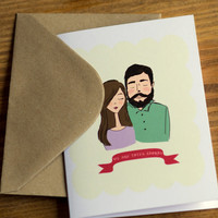 Valentine's Day Card Valentine Cute Couple We Are Totes Adorbs Blank Greeting Card with Brown Kraft Envelope