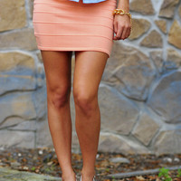 Pop Of Color Stretch Skirt: Peach | Hope's