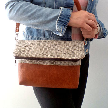 Foldover crossbody bag / Shoulder purse / Everyday crossbody bag