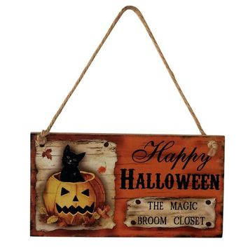 Happy Halloween Decoration Black Cat Hanging Wooden Blackboard Chalkboard Message Sign Home Decor