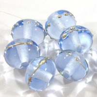 Lampwork Beads Shiny Pale Blue Glass Bead With Fine Silver Transparent