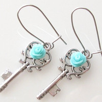 heart skeleton key with teal rose dangly earrings in silver by KriyaDesign