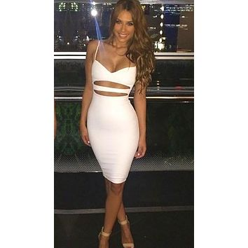 The Nina Cut Out Midi Dress White