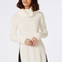 Missguided - Kerena Extreme Side Split Roll Neck Jumper Cream