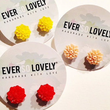 garden wedding - red yellow or peach floral earrings