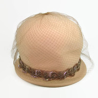 Henry Pollack Tan Bucket Hat Peachfelt 100% Wool Hat with Sequins and Netting Bowler Derby