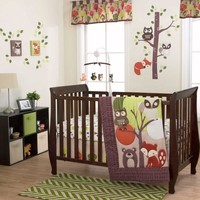 Foxy & Friends 3 Piece Baby Crib Bedding Set by Belle Image - far1010bed3 - Type 1