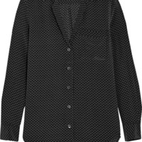 Equipment - Keira polka dot-print washed-silk shirt