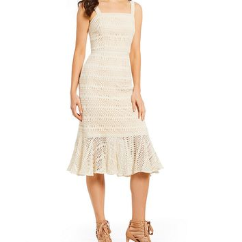 Antonio Melani Thairine Crochet Flounce Midi Dress | Dillards