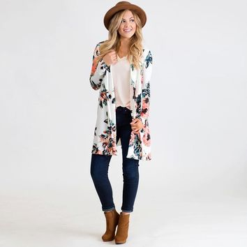 Women Kimono Cardigan Floral Print Bikini Cover Up Boho Long Loose Casual Beach Robe Blouse Top