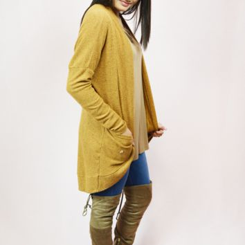 brushed rib cardigan - mustard