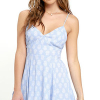 Dream All Day Light Blue Print Dress