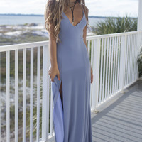 Resort Ready Blue Maxi Dress With Side Slits