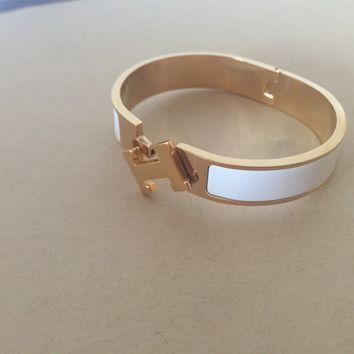 NEW Hermes White narrow Clic Clac H Bangle Gold hardware Bracelet size pm free s