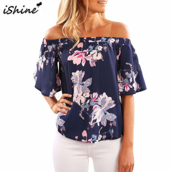 iShine Off Shoulder Flare Short Sleeve Crop Top Women Print Floral Shirt 2017 New Beach Vogue t shirt tees for women clothes