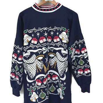 Vintage Christmas Sweatshirt, Epic 80s Christmas Sweater Navy Blue Christmas Sweatshirt Angels Bells Holly Long Comfy Ugly Christmas Sweater