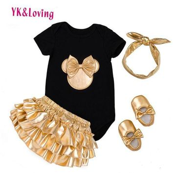 ONETOW 2017 Baby Girl Clothes 4pcs Clothing Sets Black Cotton Rompers Golden Ruffle Bloomers