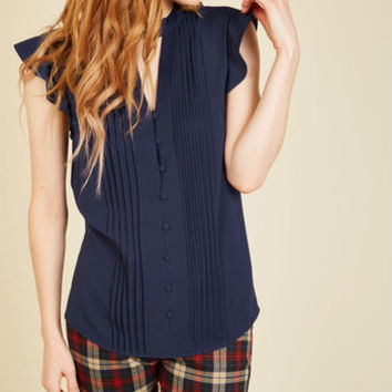 Zeal Studies Button-Up Top in Navy | Mod Retro Vintage Short Sleeve Shirts | ModCloth.com
