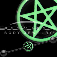 Black Titanium Magic Pentagram Glow in the Dark Industrial Barbell | Body Candy Body Jewelry