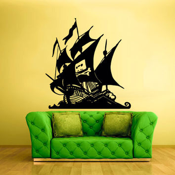 rvz1701 Wall Decal Vinyl Sticker Pirate Ship Boat Gungster Skull Bones Sea Ocean