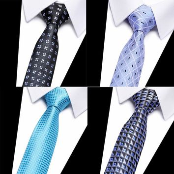 High Quality Classic Men's Stripe Silk Tie Yellow White Blue red geometric Jacquard Woven  Silk Men's Tie Necktie 2018-809