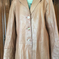 Long Tan leather Coat, Jacket, Size Large, Lightweight, Bagatelle