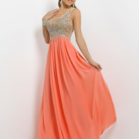 Sequin One Shoulder Empire Waist Chiffon Skirt Prom Dress By Blush 9744