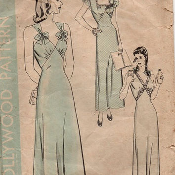 Vintage Hollywood Sewing Pattern 1940s Negligee Lingerie Nightgown Full Slip Under Dress Slim Fit Sexy Bust 34
