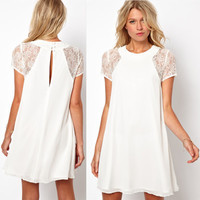 SIMPLE - Hot Popular Chiffon Lace White Short Sleeve One Piece Dress b51