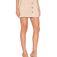 Beige Suede Front Buckle Package Hip A Line Skirt