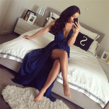 Abendkleider Navy Blue Prom Dresses 2017 Sexy V-Neck Side Slit Spaghetti Strap Long Chiffon Evening Dress Vestido De Festa