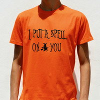 I put a spell on you tshirt Halloween party mens shirt Adult costume swag printed shirt with witch on broom spooky funny tee shirt