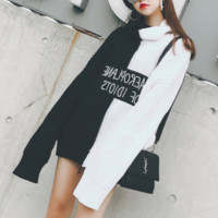 ulzzang fall and winter new high-necked black and white hit color letters sweater loose hedging thick sweater