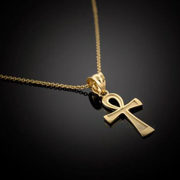 10K Gold Egyptian Ankh Cross Charm Necklace (yellow, white, rose gold)10K Gold Egyptian Ankh Cross Charm Necklace (yellow, white, rose gold)