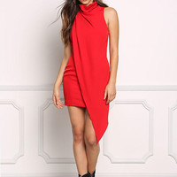 Red Draped Cowl Neck Bodycon Dress