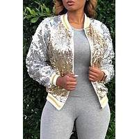 Silver And Gold Long Sleeves  Light Weight Sequined Jacket